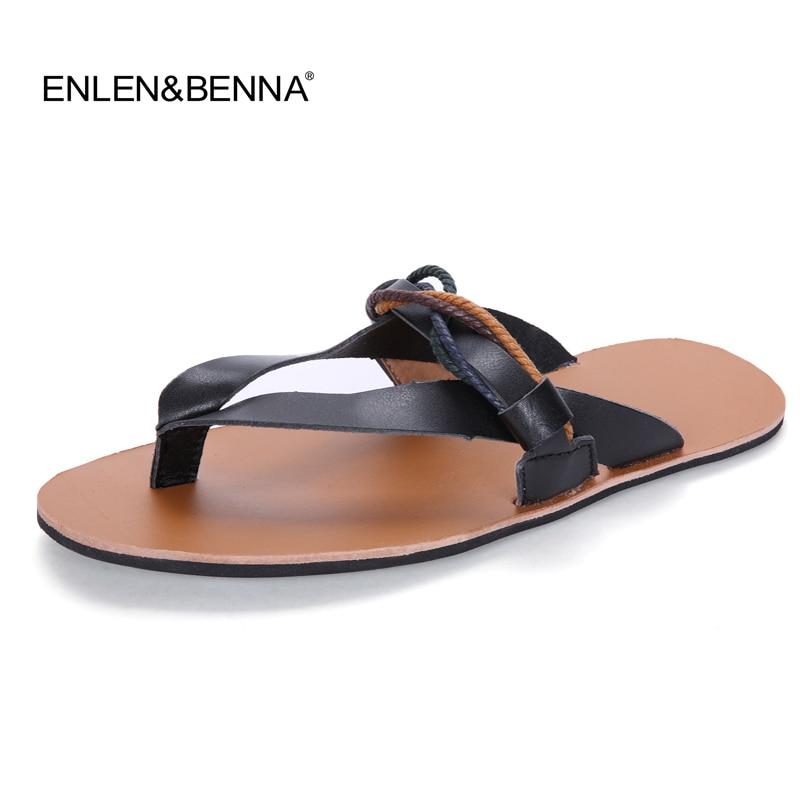 Flip Flops Տղամարդկանց սանդալներ Ամառային հողաթափեր Կոշիկ Կաշվե պատահական կաշվե ծովափնյա լողափ, շնչառական սլայդներ Տղամարդկանց բրենդային դիզայներ Flat Shoes 2017