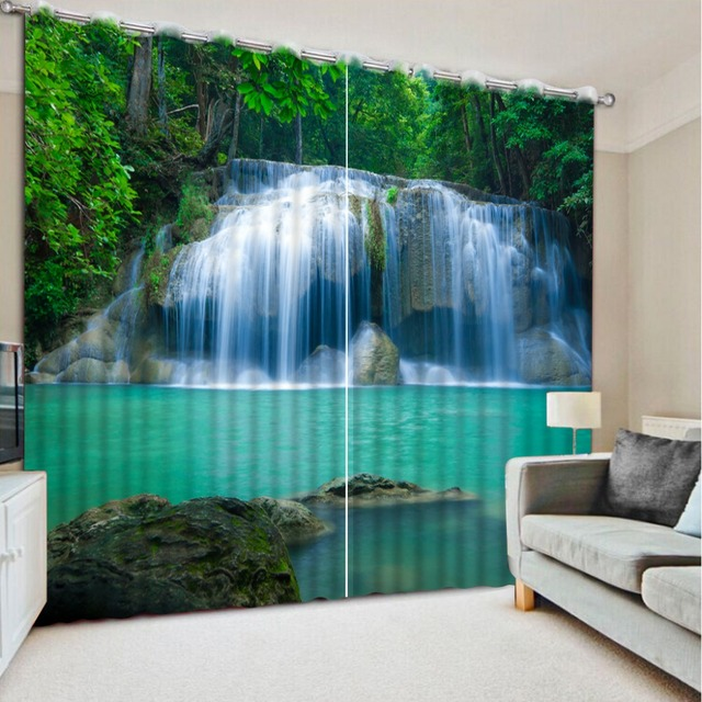 Modern 3D Waterfalls Forest Nature Landscape Curtains Paint Photo Window For Bedroom Luxury Kitchen