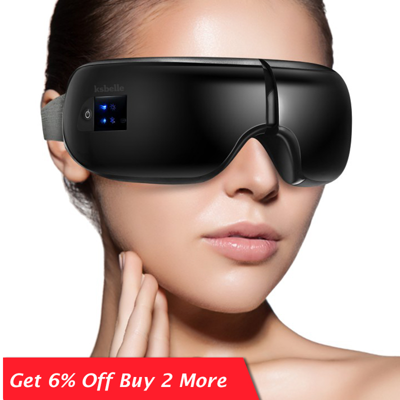 Skin Care Wireless Eye Massager Air Compression Eye Massage With Music Smart Eye Massage Heated Goggles Anti Wrinkles Eye Care