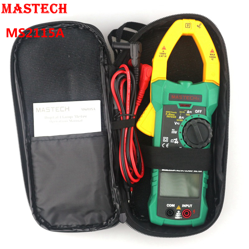 MASTECH MS2115A Digital Clamp Multimeter AC DC Voltmeter Ammeter Ohm Herz Tester True RMS 1000A 600V LCD Auto Range 5999 Counts lcd range auto digital pocket voltmeter multimeter tester tool ac dc xb 866 mini