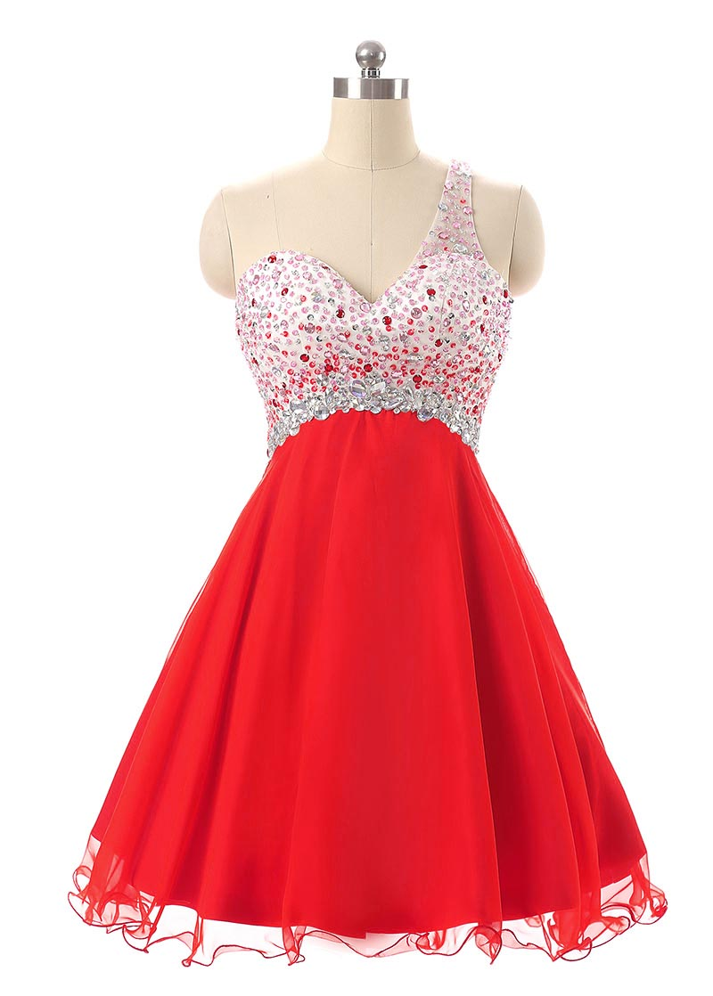 Red Beading Cocktail Party Dresses 2019 Robe Cocktail Courte Chic One Shoulder Short Prom Dress Girls Homecoming Gowns Buy At The Price Of 97 58 In Aliexpress Com Imall Com