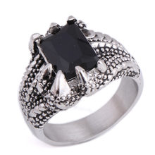 New Fashion Jewelry Classic Rings Engagement Unique Design Stainless Steel Punk Men With the Black Precious Stone Rings(China)
