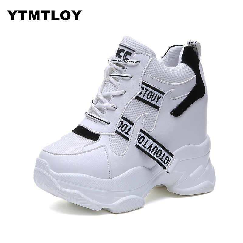 2019 White Trendy Shoes Women High Top Sneakers Women Platform Ankle Boots Basket Femme  Chaussures Femmes Height Increase Shoes girl