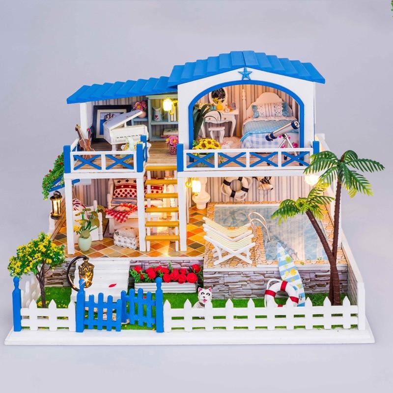 New products DIY large dollhouse miniature handmade Villa wooden doll house 13829A d030 diy mini villa model large wooden doll house miniature furniture 3d wooden puzzle building model