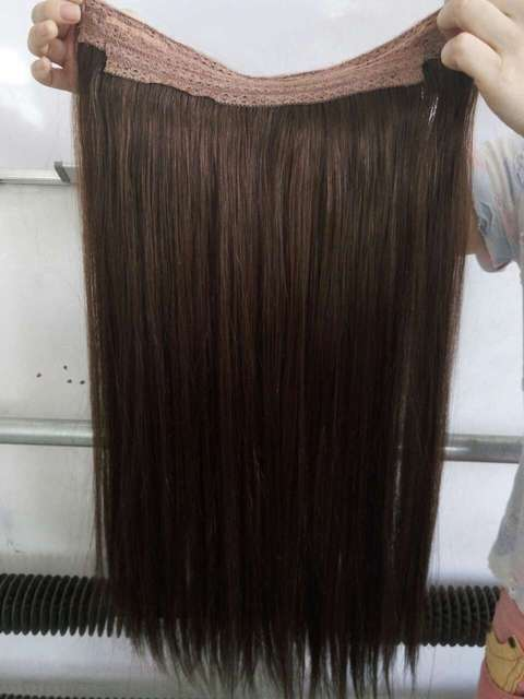 Double Drawn Indian Remy Hair No Clips Halo Flip Hair Extensions