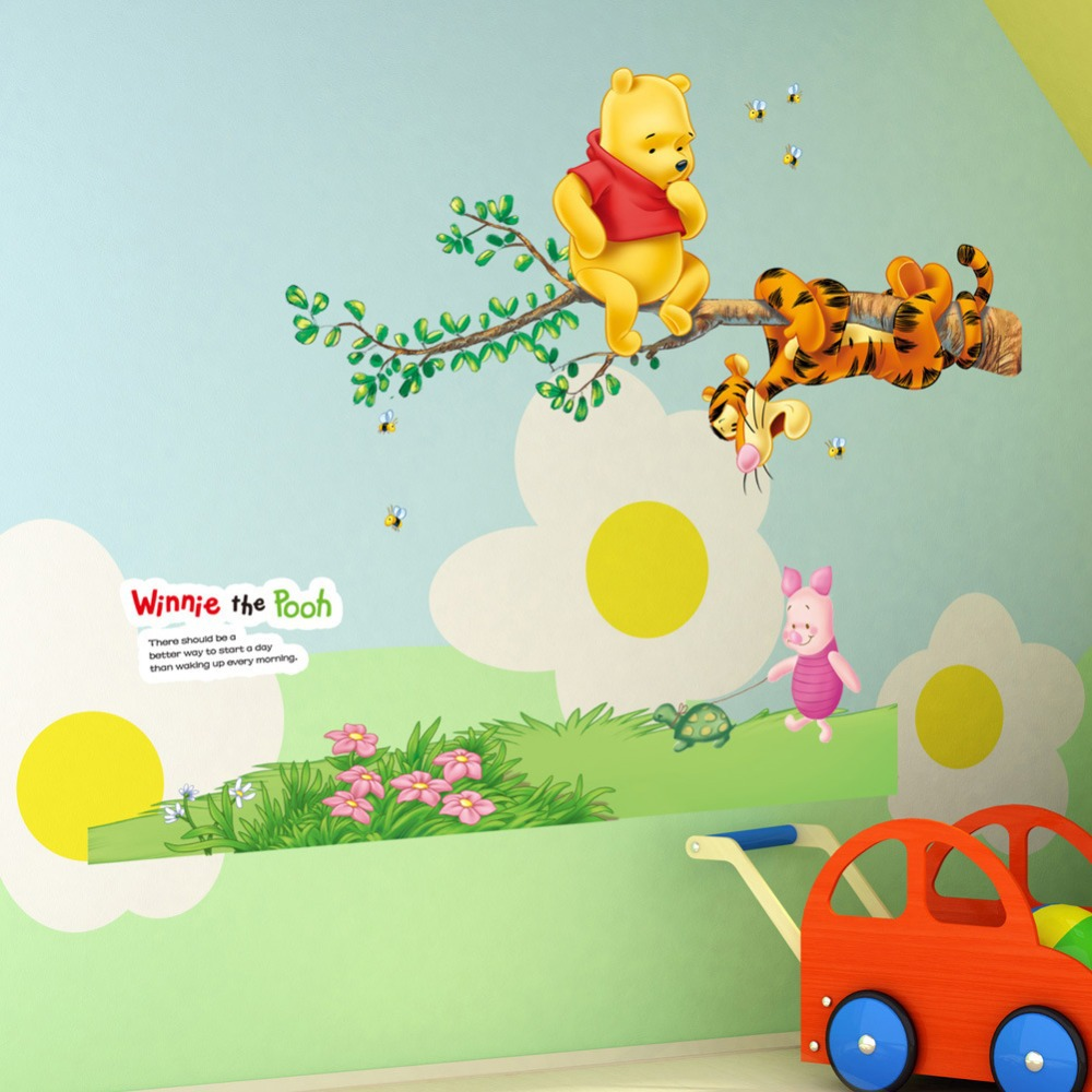 Winnie the pooh tigger piglet tree wall stickers home for Wallpaper decals