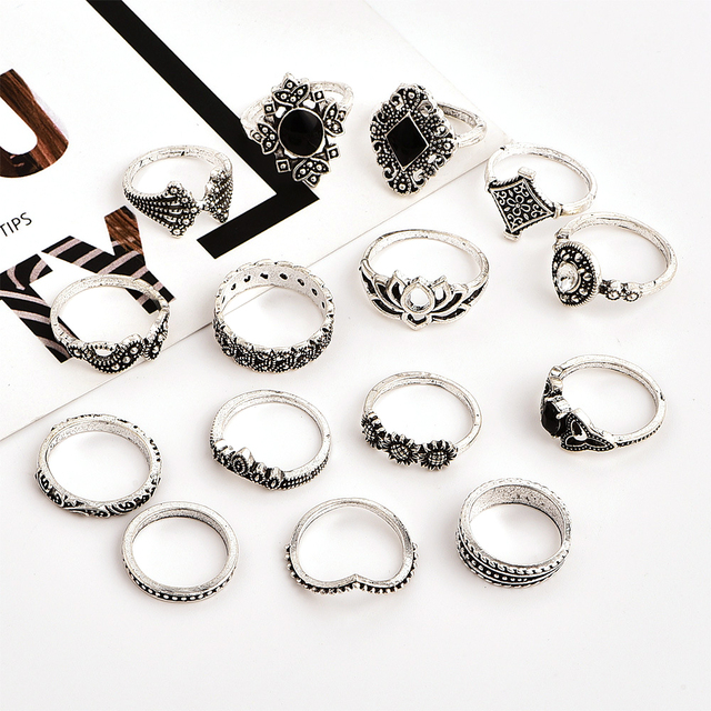 15 Pcs/set Bohemian Retro Crystal Flower Leaves Hollow Lotus Gem Silver Ring Set Women Wedding Anniversary Gift 2