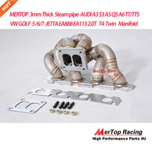 MERTOP Race 3mm Thick V W GOLF Mk5 MK6 JET TA Aud A3 S3 A5 Q5 A6 TT TTS EA888 EA113 2.0TFSI T4 Twin Turbo Manifold(China)