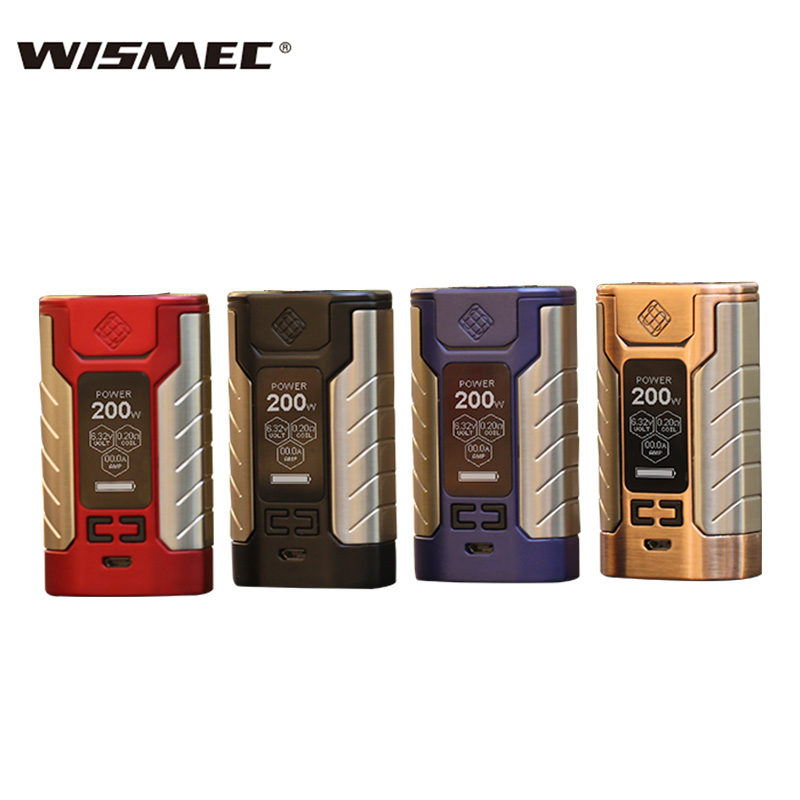 Original Wismec sinueux FJ200 TC boîte Mod 200 W VW/TC-Ni/TC-Ti/TC-SS/TCR Mode intégré dans 4600 mah batterie mod boîte Vape vaporisateur