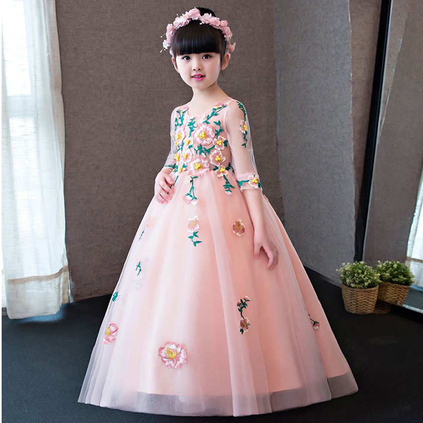European Fashion Luxury Girls Kids Flowers Princess Dress For Party Children Sweet Birthday Wedding Party Costume Long Dresses