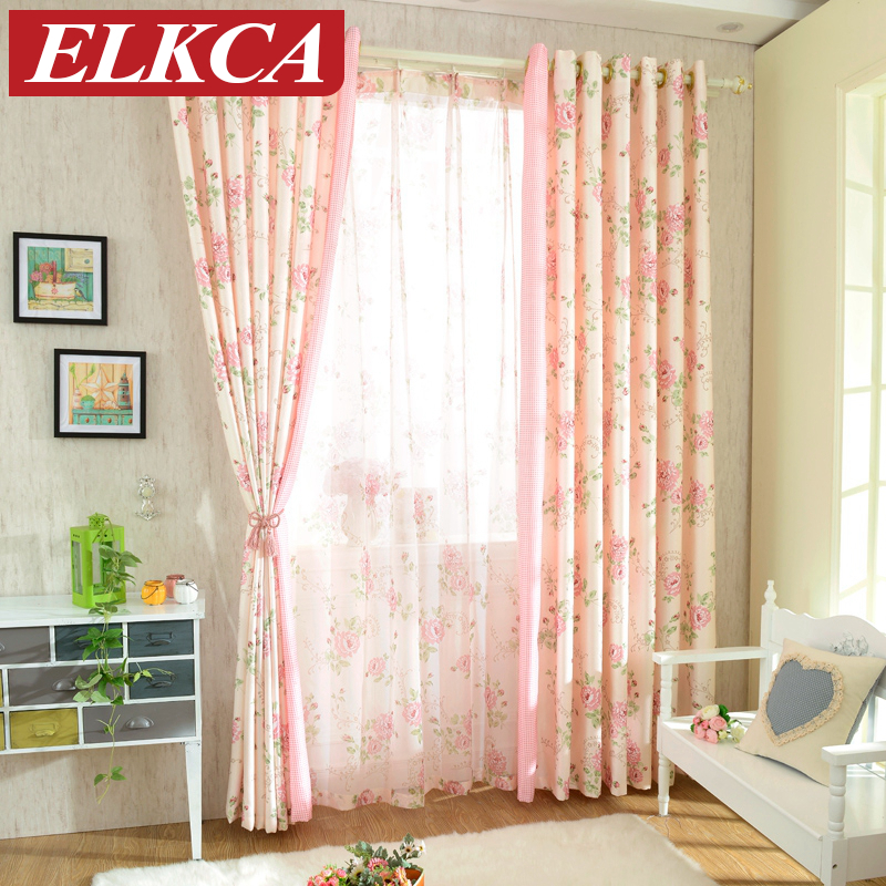 Custom Made High Quality Floral Pink Rustic Curtains For