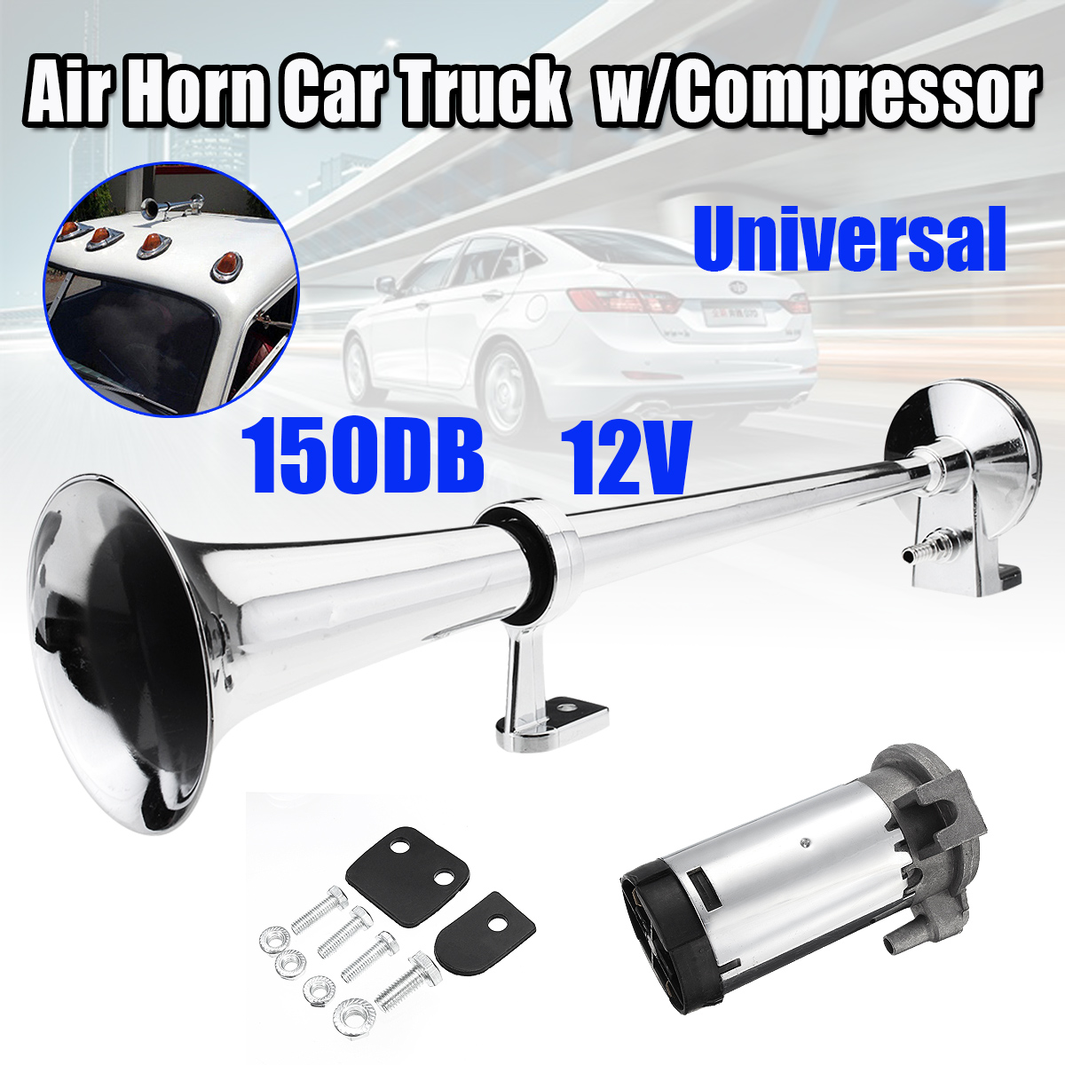 150DB 12V Super Single Loud Trumpet Air Horn Compressor Car Truck Lorry Boat