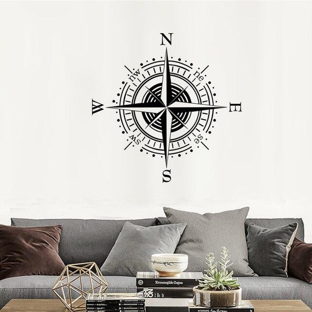 Compass Boussole Nautique Rose Stickers Muraux Accueil Diy