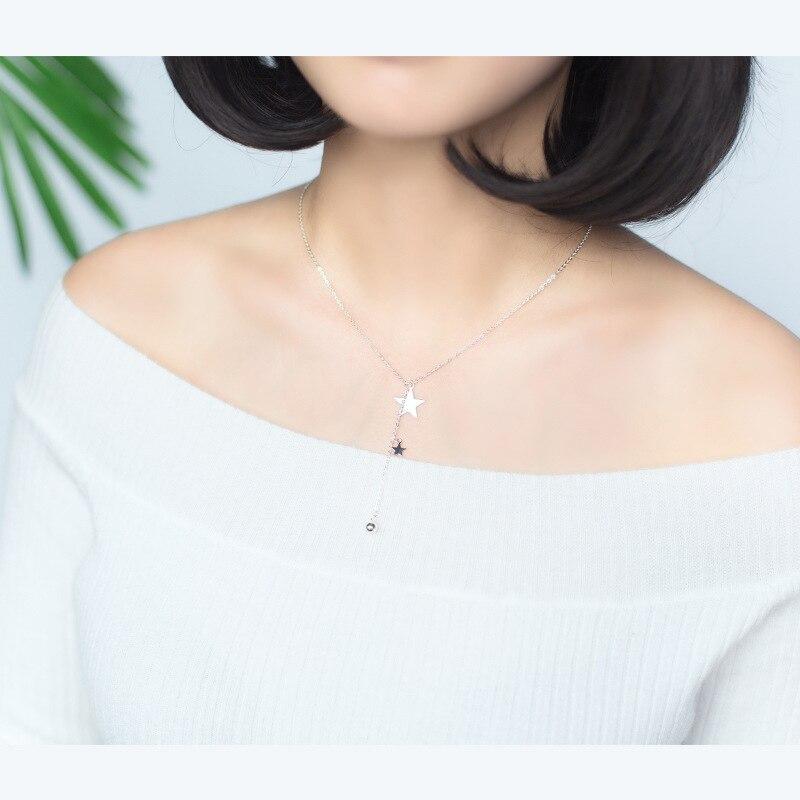 Verklig. 925 Sterling Silver Smycken Lariat Halsband med Double Star - Fina smycken - Foto 2
