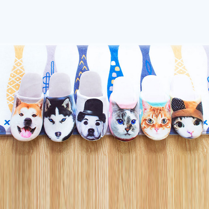 Trendy Anti slip Lovers Slippers Winter Lovely Cartoon Animals Home Floor Soft Slippers Shoes LBY2017
