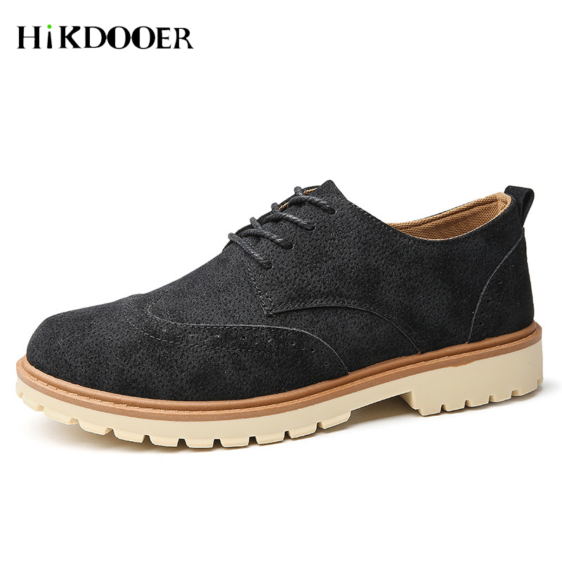 New Arrival Men Oxford Shoes Lace-up PU   Leather   Flat Shoes Top Quality Autumn   Suede   Footwear   leather   shoes men