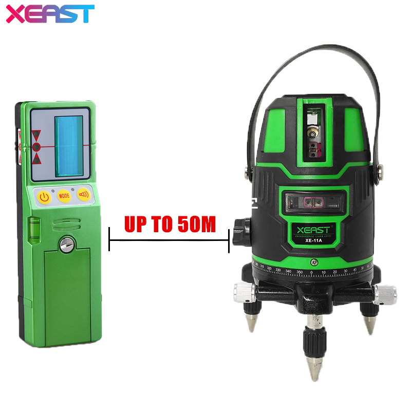XEAST XE-11A 5 line 6 point Green laser level meter 360 degree laser level with outdoor mode tilt mode Self Leveling kapro laser level laser angle meter investment line instrument 90 degree laser vertical scribe 20 meters