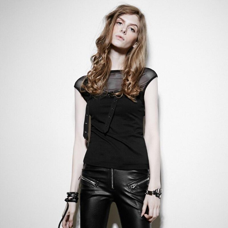 Punk Summer Ladies Tie Loops Sleeveless T Shirt Fashion Sexy Casual Tee Shirt Tops
