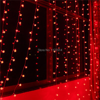 Fairy 3 * 3m 300 Red Lantern Bulbs Curtain cortina de LED Lamp String Lights indoor garland party Christmas decoration lighting