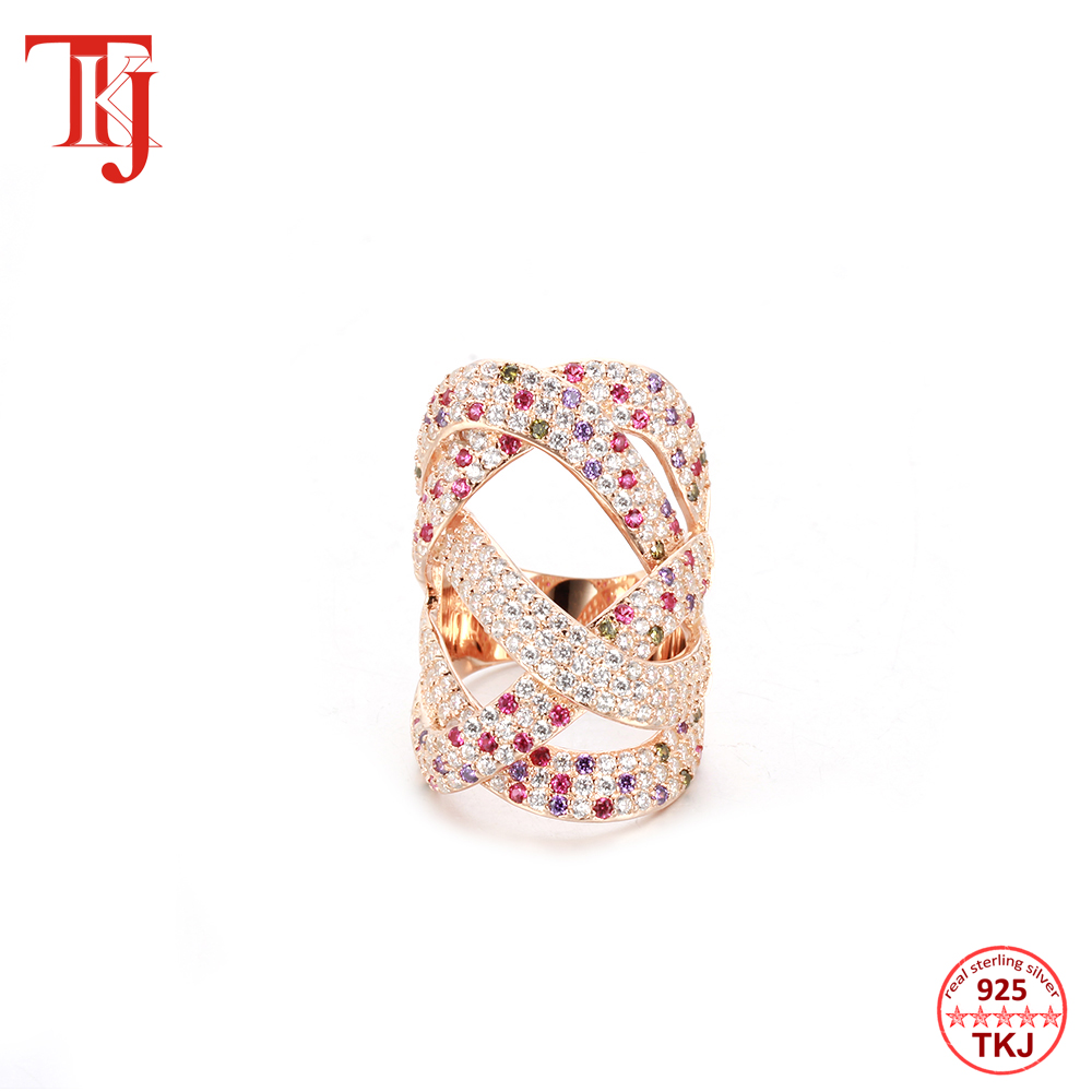 TKJ luxe grand remontage géométrie croisée zircone cubique CZ rubis pierres précieuses anneaux pour femmes mariage Dubai mariée bague bijoux - 3