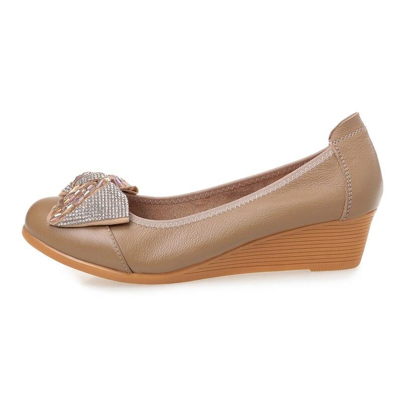Simples Femme Casual kaki Mode Véritable Compensées Taille Nouvelle Haute Grande Gktinoo Talons Cuir Noir En Chaussures Pompes Femmes 2018 tsQxodCBrh