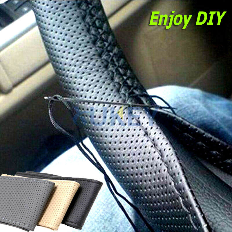 1pc Soft Grip Breathable Car Steering Wheel Cover Hand Sew