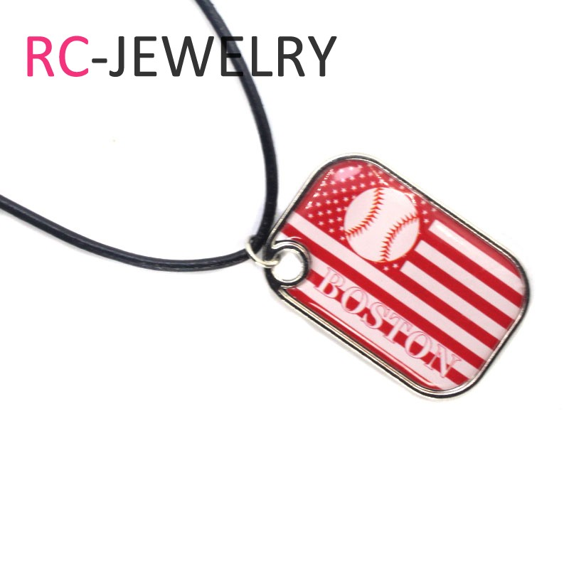 10pcs/lot baseball Fans Boston Red Sox Necklaces with 45cm Chains Baseball Sports Necklace Jewelry Pendant Charms