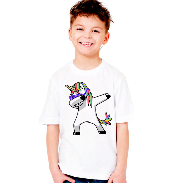 d8717f760d927 Hot Sale Kid's Dabbing Unicorn Cartoon T-Shirts Boys/Girls Funny Tops T  Shirt Children Cool Rabbit/Cat/Pug Baby Casual Clothes