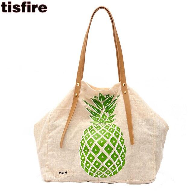 Hot sell women canvas tote bag tisfire brand designer pineapple printing shoulder  bags ladies leisure handbags big shopper bag 0fd26374b0d5c
