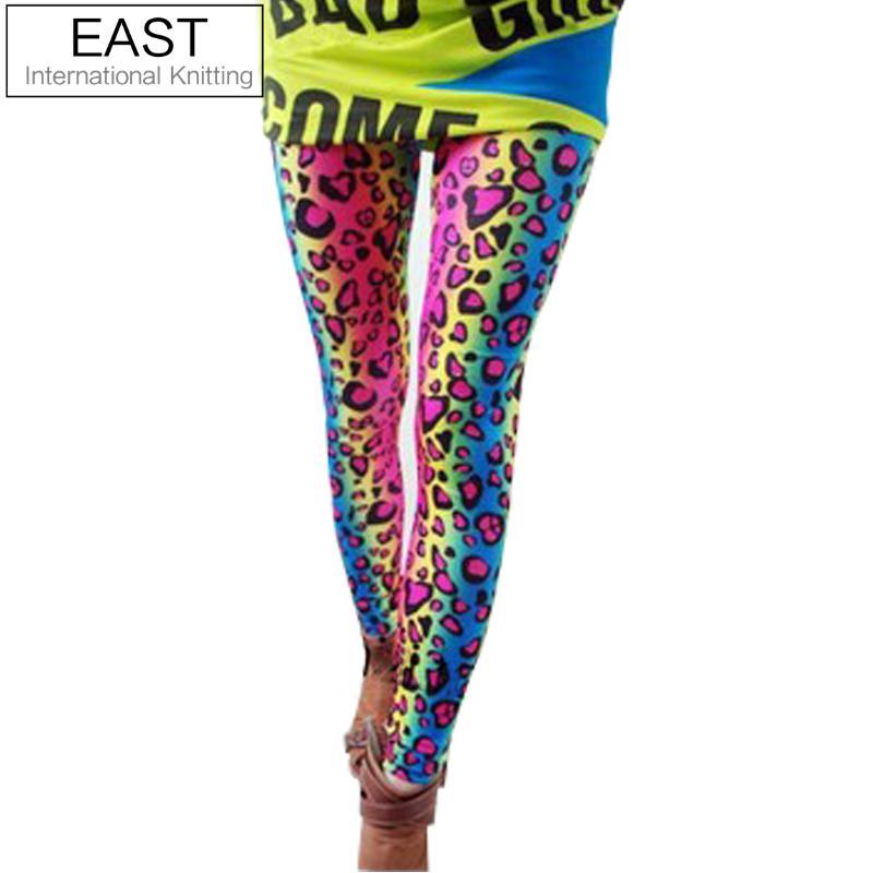 EAST KNITTING A55  2017 FASHION Women's Sex Lady  Pants Neon Leopard Striped High Spandex Leggings 1PCS
