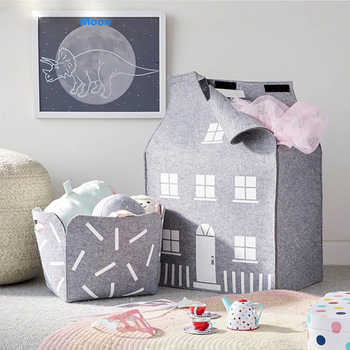 INS Swiss Style Toys House Storage Bag Wool Felt Home Decoration for Clothes Doll and Kid\'s Bauble Organize Box - DISCOUNT ITEM  10 OFF Home & Garden