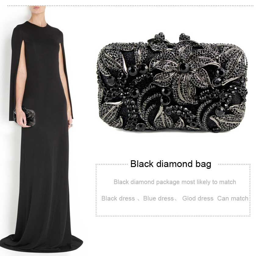Black Women Bag flower shape studded diamond clutch bags fashion classic jewel Purse prom and drinking party Or the party 88611Black Women Bag flower shape studded diamond clutch bags fashion classic jewel Purse prom and drinking party Or the party 88611