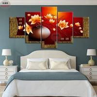 5 Piece Hiện Đại Flower Vase Canvas Art Dầu Tranh Modular Hình Ảnh HD In Tường Hình Ảnh Đối Với Phòng Khách Những Bức Tranh Trang Trí