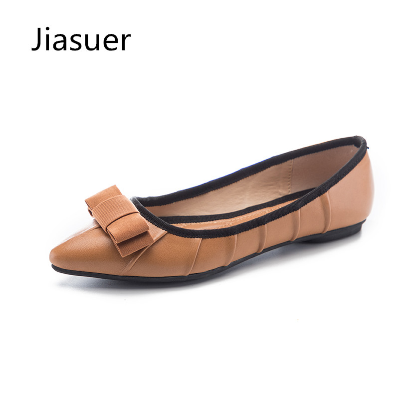 Jiasuer Pleated Pointed Toe Women Flats PU Leather Simple Bow Comfort Big Size 41 Summer Flats Fashion Lady Office Casual Shoes casual shoes women office ladies shoes lady cute bow tie pointed toe flats female cute spring