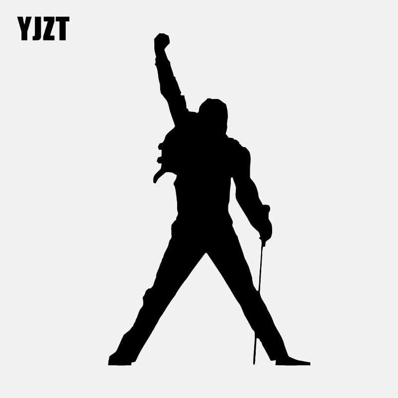 YJZT 7.9CM*13CM Music Rock Freddie Mercury Decal  Vinyl Car Sticker Black/Silver C3-0582