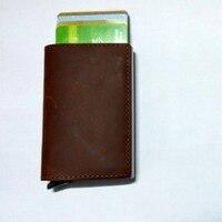 New Genuine Leather Slim Women Men Aluminum Box Purse Business RFID Blocking Wallet Mini Credit Card