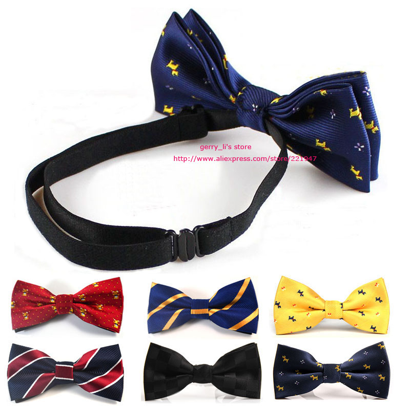 Fashion Boys Bow Ties Kids Children Students Pre-tied Adjustable Elastic Band New Style Bowtie Bow Tie Free Shippnig 6 PCS