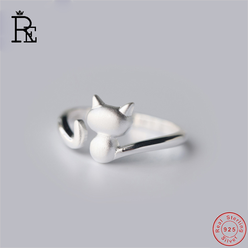 RE 100% Real S925 Sterling Silver Ring Resizable Cut Cat Wedding Engagement Finger Knuckle Rings for Women Female