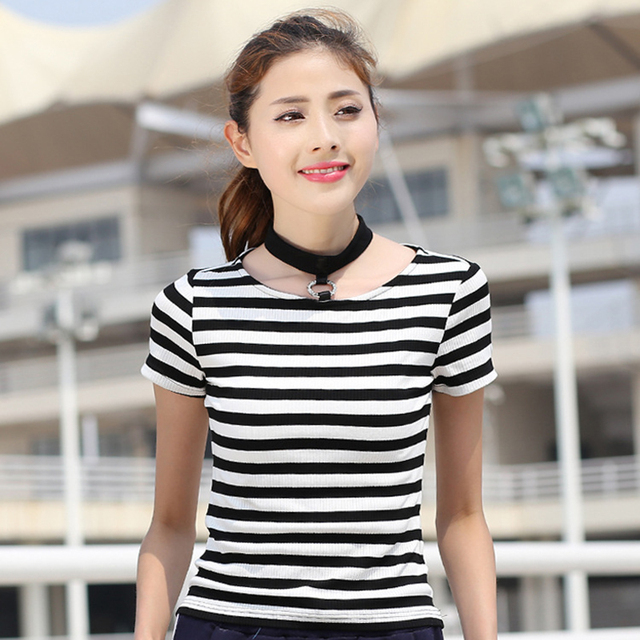 0dfc6e583 New Summer Womens Black And White Stripes Short Sleeve T Shirt Female  Fashion Slim Plus Size Cotton O-neck Casual Tee Shirt