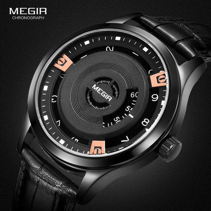 Megir Mens Watch Top Luxury Brand Quartz Watch Man Sport Black Creative Face Casual Leather Military Wristwatch Clock Male 2017 mens watch top luxury brand fashion hollow clock male casual sport wristwatch men pirate skull style quartz watch reloj homber
