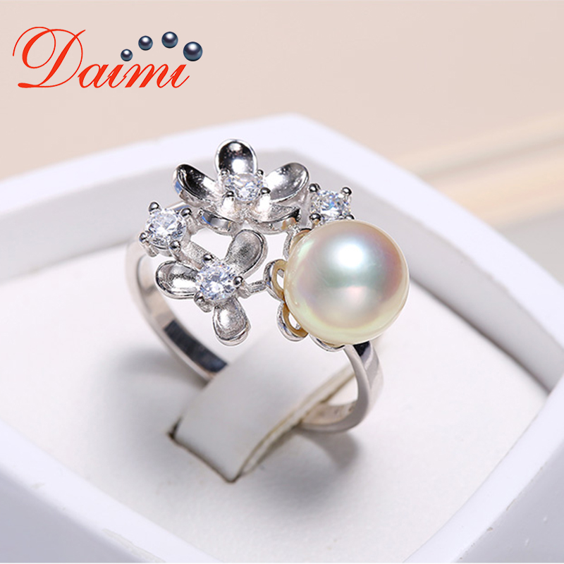 DAIMI Flower Ring 925 Silver Ring 8-8.5mm Akoya Pearl Ring Round Pearl Ring pearl beaded ring round neck tee