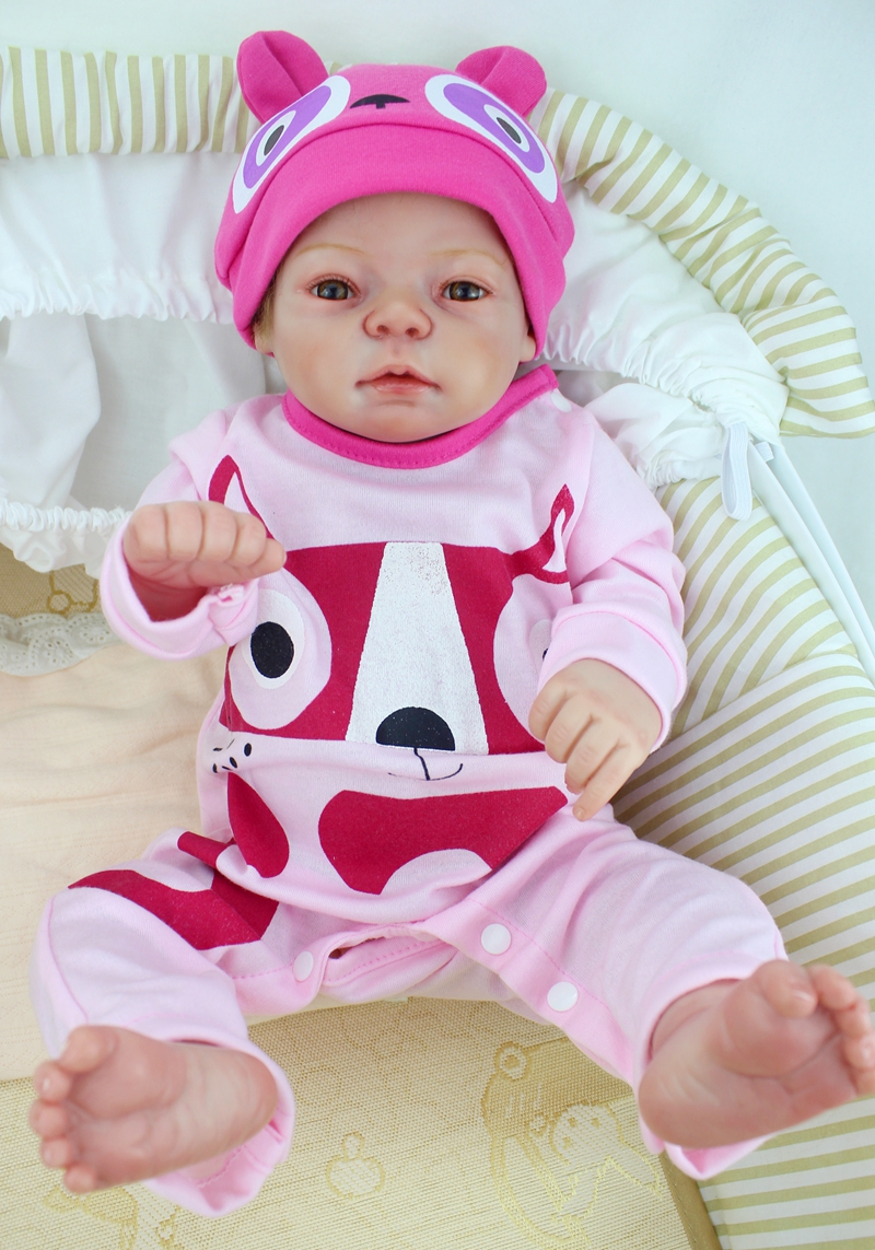 """22 """"full Body Siliconen Reborn Babypop 55 Cm Realistische Vinyl Pasgeboren Meisje Baby Met Magneet Fopspeen Bebe Kids Bonecas Glanzend"""