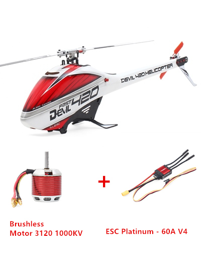 ALZRC - Devil 420 Helicopter 420 FAST FBL Combo (Included 60A-V4 Brushless ESC and  BL3120 Motor ) - Silver - Standard