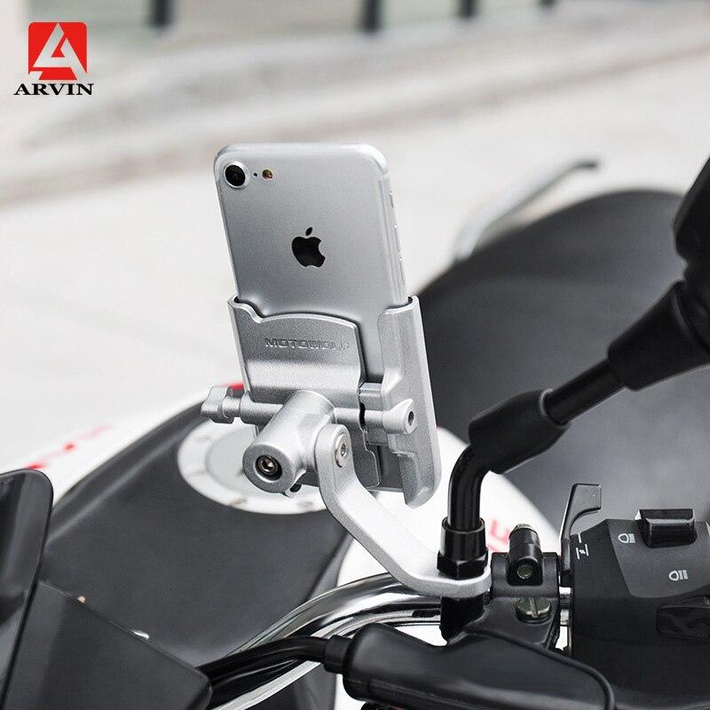 ARVIN Aluminium moto charge guidon Mobile support pour téléphone pour iPhone X universel rétroviseur USB chargeur support de montage
