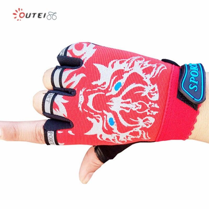 Cute Girls Boys Child Thin Half Finger Sports Cycling Bike Bicycle Gloves 5-12Y