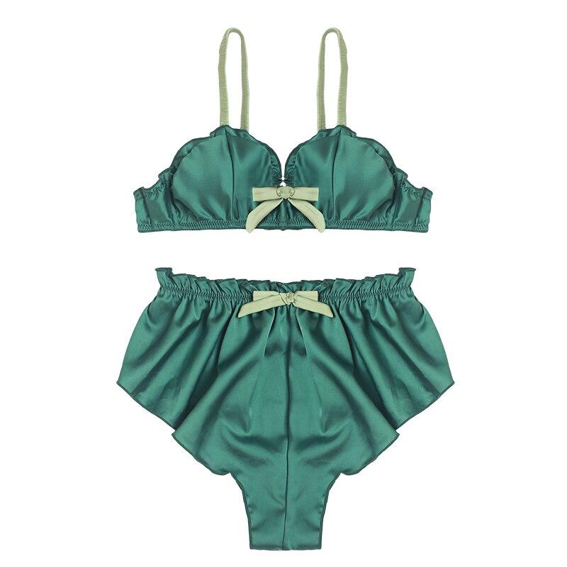 Image 4 - women silk sexy bralette panties sleepwear bra set wireless lingerie young ladies underwear fashion triangle thin pad intimates-in Bra & Brief Sets from Underwear & Sleepwears