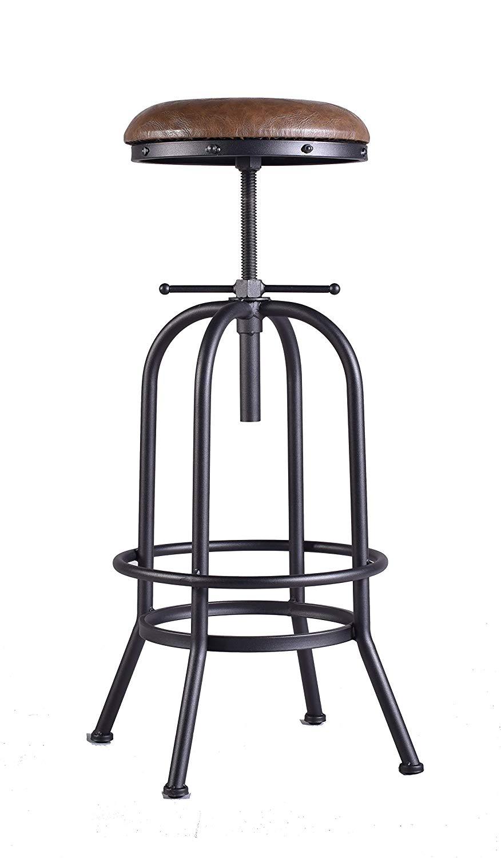 Industrial Bar Stool,Vintage Adjustable Stool,29-35 Inch Cast Iron Stool,PU Leather Cushion Seat,Swivel Metal Pipe Stool,Counter