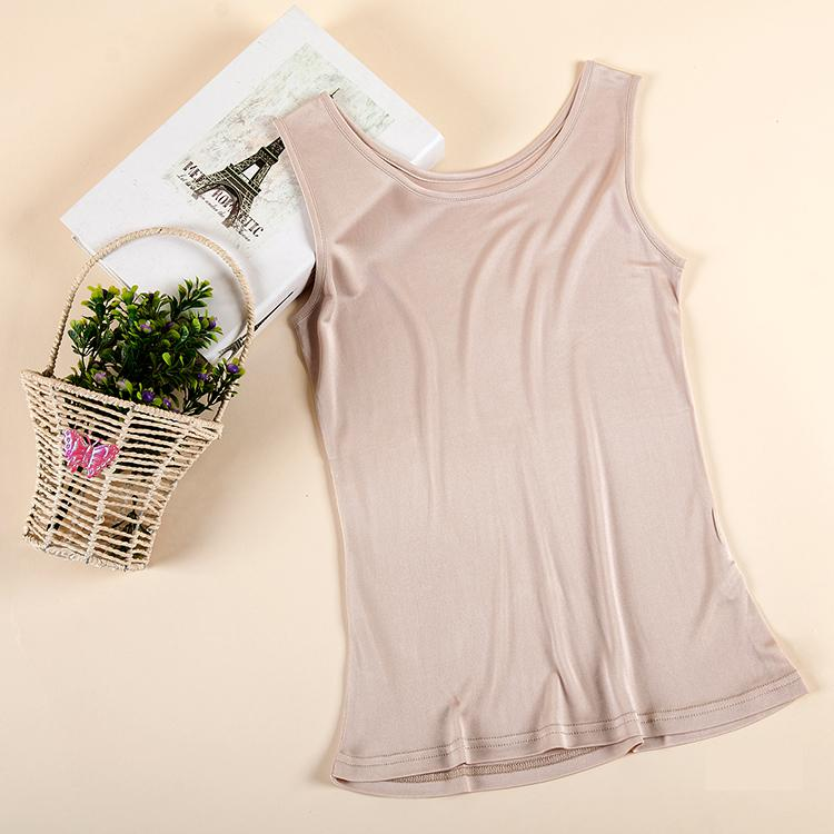 Women 100% Silk Vest Female 100% Silk Tank Woman Summer Loose Silk Sleeveless Shirt Lady Knit Solid Tank Tops Lady Stretch Tees