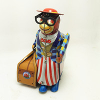 [Funny] Adult Collection Retro Wind up toy Metal Tin Travelling monkey professor Mechanical Clockwork toy figure model kids gift