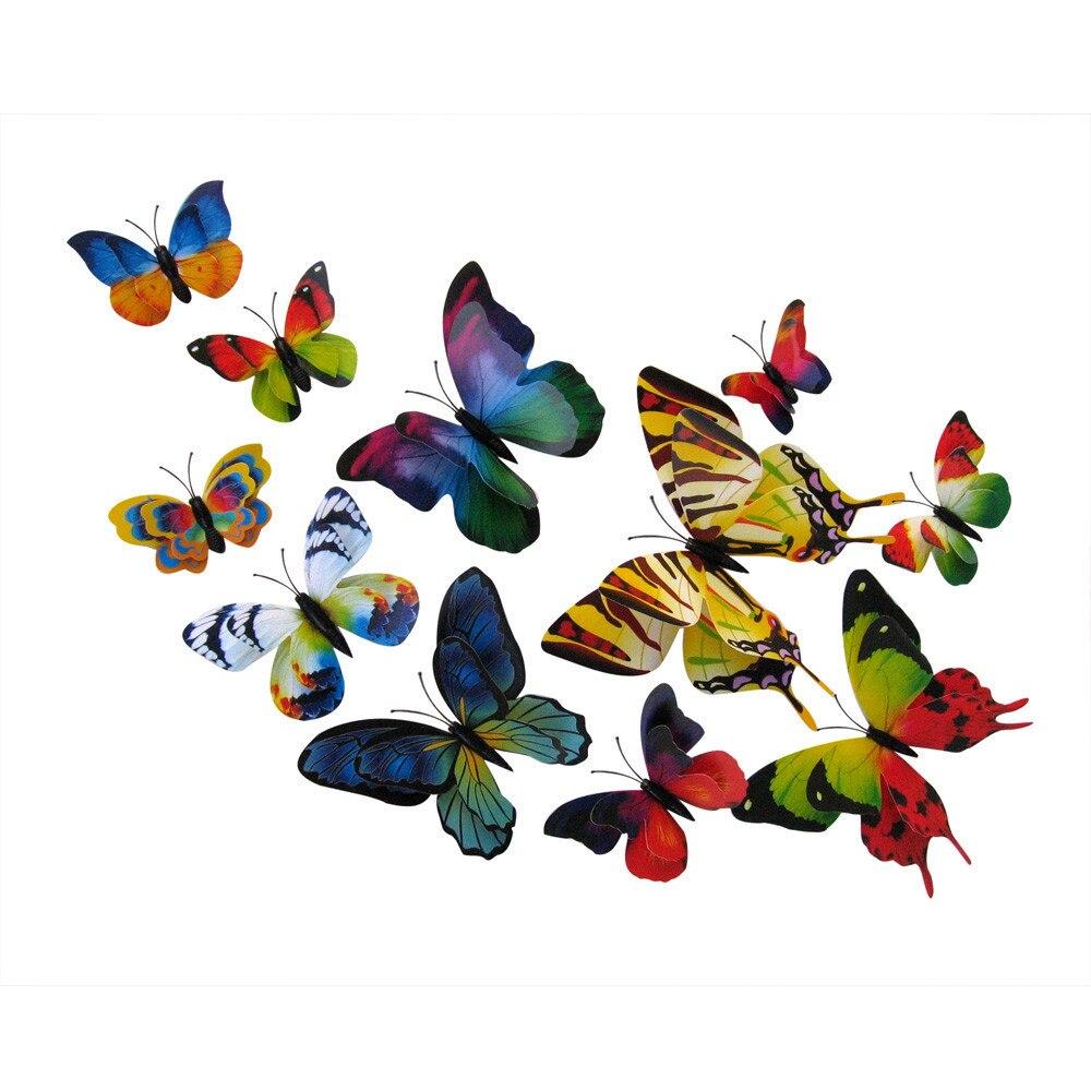 Cheap American Fridge Part - 28: 2017 Hot Sale 12x 3D Butterfly Wall Sticker Fridge Magnet Room Decor Decal  Applique(China